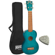 MAHALO Blue 2500 Kahiko Soprano Ukulele With Case & Pick