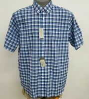 Cremieux Signature French Blue White Checked SS Men's Shirt NWT $79.50 Choose Sz