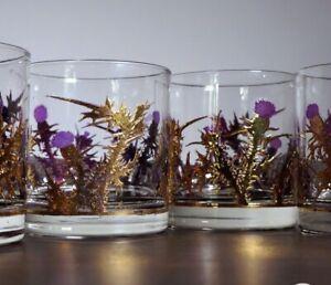 (8) Mid Century Vintage Scottish Thistle Whiskey Glasses Lowball Rocks Tumblers…
