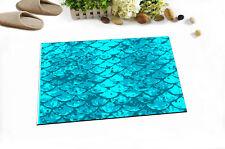 """Hand Drawn Mermaid Tail Bath Mat Bathroom Rug Non-Slip Home Decor Carpet 24x16"""""""