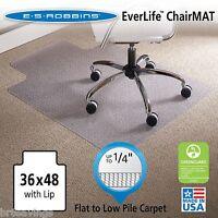 """ES Robbins Lip Chair Mat Task Series AnchorBar Carpet 36"""" x 48'' Vinly Clear"""