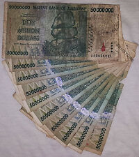 10 x 50 Million Zimbabwe Dollars Bank Notes AA 2008 Currency *Damaged Condition*