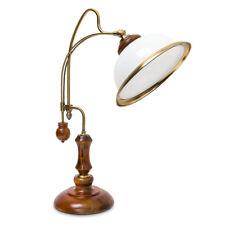 Tischlampe Jugendstil Beleuchtung Glasschirm neigbar Hartholz Metall Verzierung