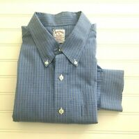 Brooks Brothers Blue Plaid Button Down Long Sleeve Dress Shirt Size XL non iron