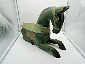 Vintage Hand Carved Wood Horse Thailand, green with ornate saddle dressing