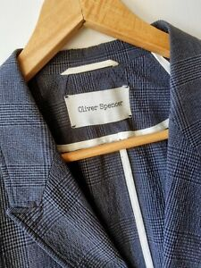 OLIVER SPENCER Versatile Seersucker Portland Jacket 42 Grey Check Blazer VGC