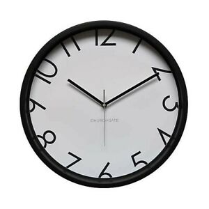 Contemporary Numbers 38.5cm Wall Clock Black Stylish Sleek Understated #NG