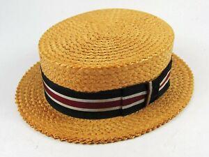 Vintage, genuine Roaring 20s Straw Boater Hat Sz 7-1/4 Hudsons Detroit NEAR MINT