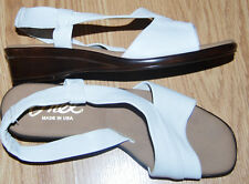 ONEX open toe slingback WHITE leather low heels sandals shoes 38 7 NEW USA $129