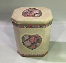 Decorated England Tin Roses Victorian Hexagonal Tin Metal Shabby Chic