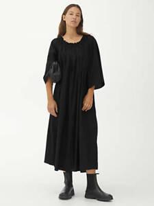 Arket Ruffled Kaftan Dress 8 Loose Midi Off Shoulder Sleeve Tencel Cotton Black
