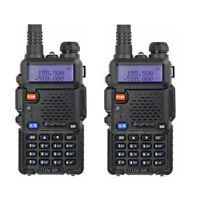 2 Pcs BAOFENG UV-5R VHF/UHF 136-174&400-520Mhz Ham Two-way Radio Walkie Talkie G
