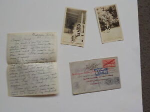 WWII Letter 1943 Photos Jewish Missing In Action Wife 44th Bomb Group VTG WW2