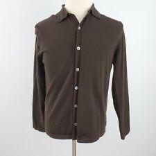 Banana Republic Cardigan Sweater Men's M Stretch Merino Wool Button Front Brown