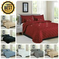 Bedspread 5 Piece Diamond Reversible Comforter Bed Throw Quilted Home Decor