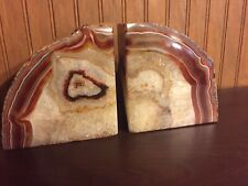 Pair Of 10� Solid Stone Slab Book Ends Heavy Tan Brown Geode Quartz