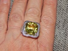 BRAZILIAN GREEN GOLD QUARTZ & DIAMOND RING-SIZE Q-9.100 CARATS-WITH PLATINUM