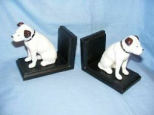 Nipper Dog HMV Bookends His Masters Voice Cast Iron