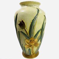 Ceramic Pottery Vase Green Gold Floral Cracked Glaze