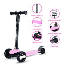 Pink Kick Scooter for Kids with 3 Big Light Up Wheels, Adjustable Height