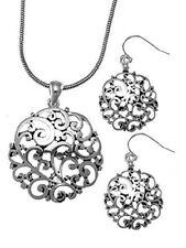 Silver Elegant Open Filigree  Necklace Set Bright Beach