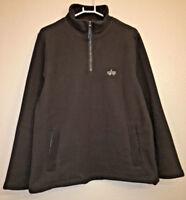 ALPHA INDUSTRIES Men's Large Half Zip Pullover Sweater Jacket Army Green EUC
