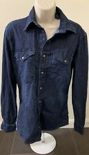Wrangler Indigo Long Sleeve Button Up Cowboy Cut Denim Jean Shirt Men Size S/P