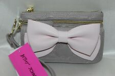 NEW! BETSEY JOHNSON Gray Pink Ready Set Bow Faux Leather Zip Clutch Wristlet $65