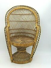 Peacock Chair 16 inch Vintage Wicker Rattan Plant Stand Doll Chair Natural