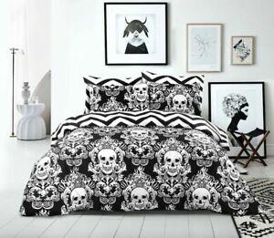 Duvet Cover Set Halloween Skull 100% Cotton 200 Thread Count Bedding All Sizes