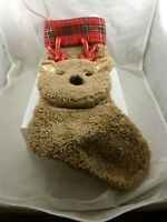 plush soft and cute Reindeer plaid and brown Christmas stocking