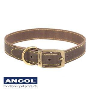 ANCOL™ LARGE LEATHER COLLAR 55cm - 63cm Labrador German Shepherd Great Dane UK