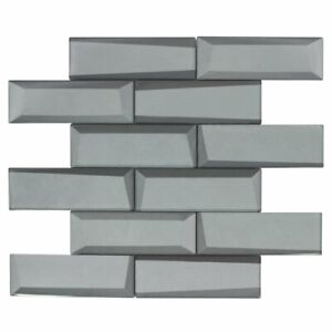 Modern 2X6 Faceted Beveled Subway Gray Glossy Metallic Glass Mosaic Tile MTO0160