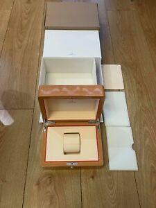 Genuine Original Omega Swiss Wooden Beech Wood Watch Box Case Complete Current