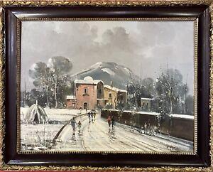 quadro antico dipinto a olio su tela paesaggio montano con la neve cornice legno