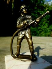 More details for vintage fireman figurine with marble base paperweight desk statue collector