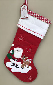 NEW Pottery Barn Kids Santa Rudolph Reindeer Christmas Quilted Stocking Red