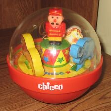 "CHICCO Rolly Chime Ball Circus Animals Used Play Toy Toddler 7"" Rocking Bright"