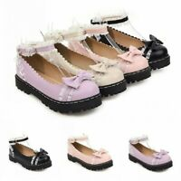 Women's Lolita Ankle Strap Bowknot Round Toe Chunky Heel Mary Janes Shoes Date B