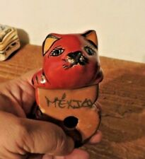 "Mexican Folk Art Hand Painted Red Ceramic Cat Shelf Sitter Figurine 5"" long"