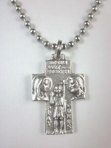"""JMJ Holy Family / St Christopher Medal Cross Pendant Necklace 24"""" Ball Chain"""