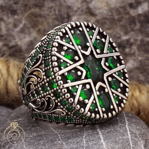 Mens Multistone Green Emerald Anniversary Ring Carved Silver Colour Stone Band