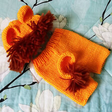 Infant Baby Newborn Photography Prop Handmade Crochet Knitted Set Unisex Lion