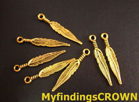 100pcs Antiqued gold screw feather charms 29x5mm FC56