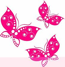 3 x Pink Butterflies Car Van Window Bike Stickers SBB2