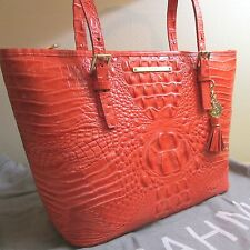 BRAHMIN ASHER PIMENTO ORANGE CORAL PINK LEATHER TOTE HANDBAG TASSEL $255 NEW!