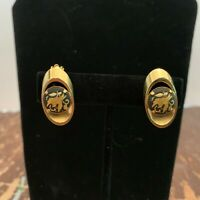 Vintage Bird Design Damascene Clip On Earrings