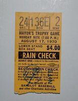 Mets vs.Yankees  MAYOR'S TROPHY GAME TICKET STUB at Yankee Stadium  August 1970