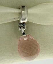 Authentic Pandora 791602CPK Pink Faceted Murano Dangle Sterling Silv Bead Charm