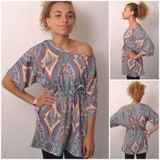 Hip Length Cotton Blend Multi-Coloured T-Shirts for Women